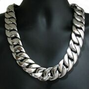 Fine Solid Metal Menand039s 20x20 Miami Cuban Chain Necklace 14k White Gold Plated