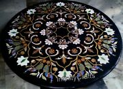 48 Inch Marble Dining Table Top Inlay Floral Pattern Luxurious Look Island Table
