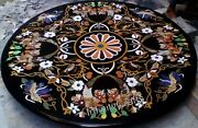 48 Inch Marble Dining Table Top Marquetry Art Conference Table For Office Decor