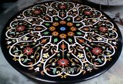 36 Inches Marble Dining Table Top Semi Precious Gemstones Inlaid Coffee Table