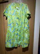 Vtg 60s Psychedelic Green And Blue Satin House Coat Robe Dress Button Front Sz M L