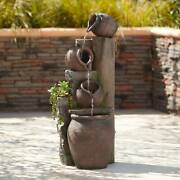 Rustic Outdoor Floor Water Fountain With Light Led 39 1/4 Cascading Yard Garden