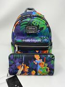 In Hand Nwt Loungefly Disney Peter Pan Scenes Mary Blair Backpack And Wallet