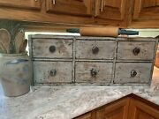 Antique Primitive Wood Apothecary Spice Cabinet Box Chest Shabby Paint Hardware