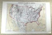 1874 Antique Map Of The United States Of America Usa Us Old German 19th Century