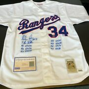 Nolan Ryan 7 No Hitters Signed Heavily Inscribed Texas Rangers Jersey Steiner