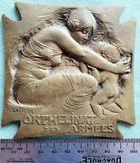 France- C.1915- Armed Forces Orphenage- Bronze Cast By Lalique- Extremelyy Rare