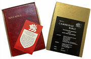 Cambridge Cameo Kjv Bible, Antique French Morocco Leather, Marbled Crimson 74xrl
