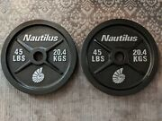 Nautilus 45 Lbs Olympic Weight Plates, Pair-2 Plates 90 Lbs Total - Lightly Used