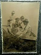 Outdoor Tintype Deco Paper Frame 4 Young Lady's In A Canoe On The Lake.