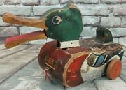 Vintage Snap-quack Duck Wooden Pull Toy 141 1940's-50's Fisher Price Moves