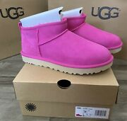 Ugg Classic Ultra Mini Rock Rose Fur Boots Women Us Size 7 Sold Out Color Nib