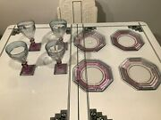 Heisey Alexandrite Twist 7 Water Goblets And 8 Stepped Octagon Plates Scarce