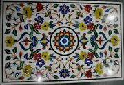 30 Inch Marble Coffee Table Top Floral Design Inlaid Center Table For Home Decor
