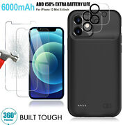 6000mah Extended Charger Cover W/4x Tempered Glass Protector For Iphone 12 Mini