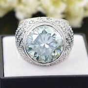 Huge 13.15ct Off White Diamond Heavy Ring With Accents. Great Shine- Watch Video
