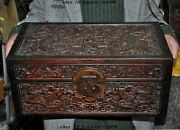 China Huanghuali Wood Carved Dragon Play Bead Statue Jewelry Storage Box Cabinet