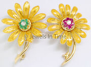 18k Yellow Gold Diamond And Ruby And Emerald Pair Of Brooches