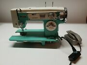 Vtg Fleetwood Deluxe Sewing Machine Portable - Teal Rare Zig Zag Width