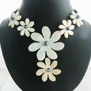 Gorgeous White Oyster Flower Mother Of Pearl Shell Brown Rope Necklace