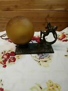 Vtg Art Deco Cast Metal Dancing Nude Lady Lamp With Amber Crackle Glass Shade
