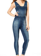 Guess New Women's Guess Nada Denim Fitted Cedar Indigo Jumpsuit And Rompers Sz S