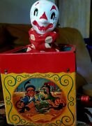 Antique Vintage Mattel Jack In The Music Box Jolly Tune The Clown Works Music