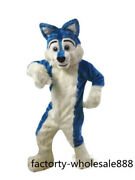 Long Fur Blue Husky Dog Mascot Costume Fox Parade Outfit Suit Unisex Cosplay Hot