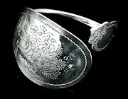 Solid Sterling Silver Hallmarked Antique 1890 Chunky Spoon Bangle Bracelet