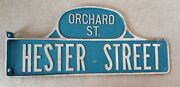Vintage New York City Hester Orchard St 2 Sided Humpba Street Sign Manhattan