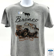 Ford Bronco T-shirt - Gray W/ 1st Generation 1966-1977 Emblem And Giddy Up Script