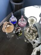 Vintage Lot Six Murano Art Glass Controlled Bubble Paperweights