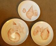 Set Of 3 Fitz And Floyd 1976 Coquille Sea Shell Design Plates