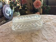 Vintage Anchor Hocking Wexford Clear Cut Glass Butter Dish With Lid