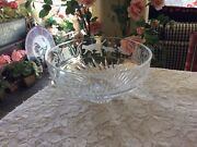 Lenox Heavy Crystal Glass Centerpiece Bowl With Etched Frosted Cats Kittens