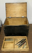 Vintage Solid Wood Black Rustic Tool Box Storage Chest Container Arts Crafts