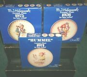 Goebel 1974 1975 1976 Hummel Annual Plates In Bas Relief W/boxes 7.5
