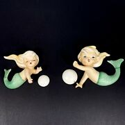 Vintage Pair Lefton Mermaids With Bubbles Wall Plaques Figurines