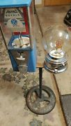 Vintage Ford And Astro Gum Gumball Machine With Original Double Ford Stand