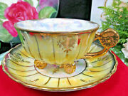 Royal Sealy Tea Cup And Saucer Flower Handle Teacup And 3 Little Floral Feet