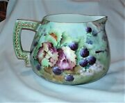 Antique Belleek Cider Pitcher Flowersvinesleafs Hand Painted Signed Cac Stamp