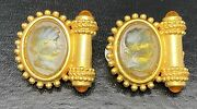 Vtg Linda Levinson Glass Cameo Clip On Earrings Etruscan Matte Costume Jewelry
