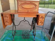 Very Raresolid Wood1870and039s Antique American Sewing Machine Cabinet With Drawers