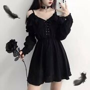 Gothic Dress Off Shoulder Black Lace Tie Sexy Cute Womens Girls Clothes Clothing