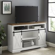 Universal Farmhouse Barn Door Tv Stand For Tvs Up To 58 White Brown Finish