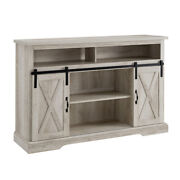 Universal Farmhouse Barn Door Tv Stand For Tvs Up To 58 White Oak Finish