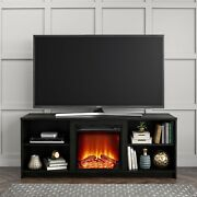 Fireplace Tv Stand For Tvs Up To 65 Black Oak Finish Entertainment Center