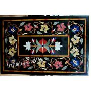 30 Inch Marble Coffee Table Top Inlay Multi Color Gemstones Sofa Table For Home