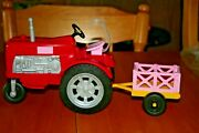 2017 Mattel Farmer Barbieand039s Red And Pink Farm Tractor W/ Trailer/cart-used