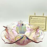 Fenton Pink Pineapple Carnival Glass Serving Bowl Museum Collection 12.5 Wide